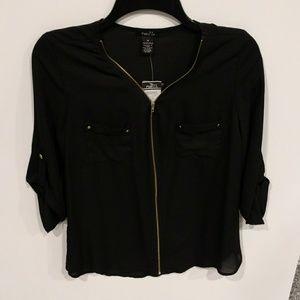 Black Zippered Sheer Blouse